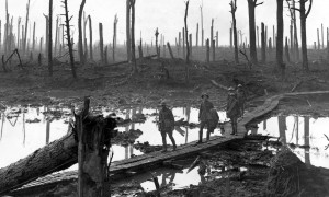 Australian troops passing through Chateau Wood during the battle of Passchendaele