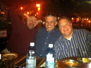 A special meal at the Carnivore restaurant in Nairobi, Kenya with my Beeson colleagues John Whitsett and Chris Howlett.