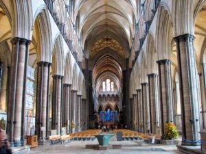 Interior of the nave at Salisbury Cathedral, UK