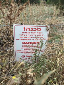 Unexploded ordinance warning near a remote natural gas well. Mine fields were placed near sites like this a couple of decades ago to deter saboteurs (and hikers, apparently).