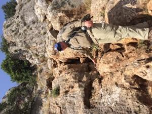 Climbing down Mount Arbel