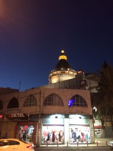View of the dome of the Church of the Anunciation at night.