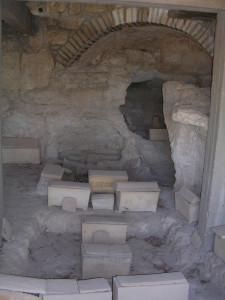 First century tomb with ossuaries on the Mount of Olives, Jerusalem