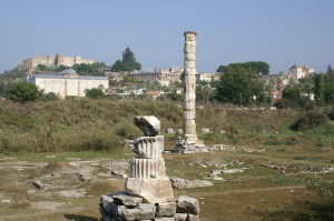 A single column is all that is left of the Temple of Artemis
